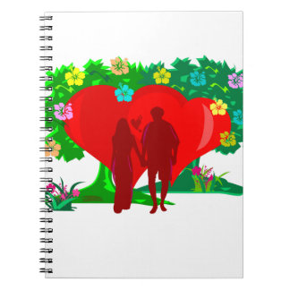 couples in red heart and flowers notebooks