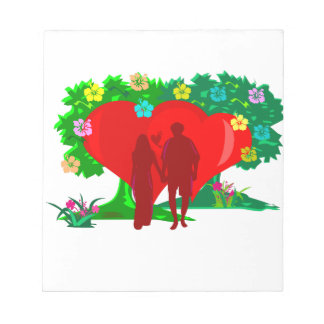 couples in red heart and flowers notepad