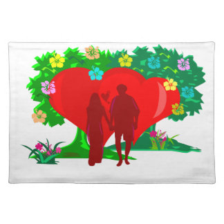 couples in red heart and flowers placemat
