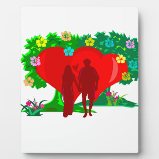 couples in red heart and flowers plaque