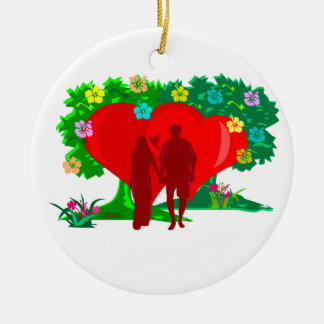 couples in red heart and flowers round ceramic decoration