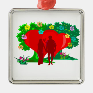 couples in red heart and flowers Silver-Colored square decoration