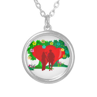 couples in red heart and flowers silver plated necklace