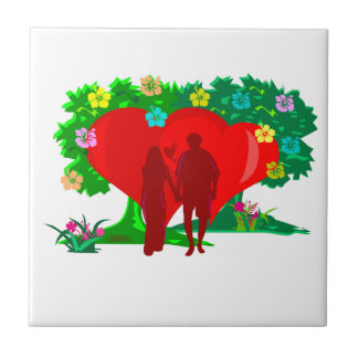 couples in red heart and flowers tile