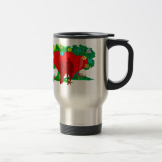 couples in red heart and flowers travel mug