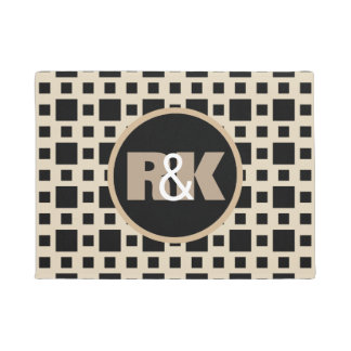 Couples Initials Closely Together Cool Geometric Doormat