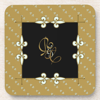 Couple's Monogram Elegant Vintage Art Nouveau Coaster