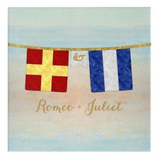 Couples Monogram Maritime Signal Flags Watercolor Acrylic Print