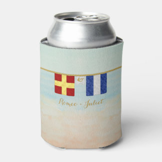 Couples Monogram Maritime Signal Flags Watercolor Can Cooler
