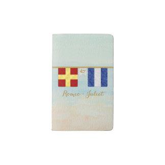 Couples Monogram Maritime Signal Flags Watercolor Pocket Moleskine Notebook