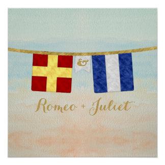 Couples Monogram Maritime Signal Flags Watercolor Poster