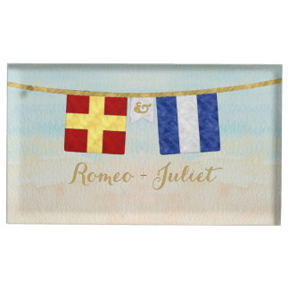 Couples Monogram Maritime Signal Flags Watercolor Table Card Holder