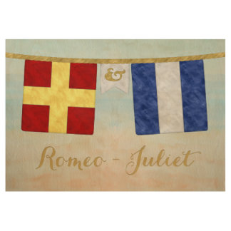 Couples Monogram Maritime Signal Flags Watercolor Wood Poster