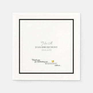 couple's monogram (names/initial) on white wedding disposable serviette