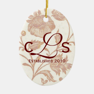 Couples Monogram Ornament: Red Ceramic Ornament