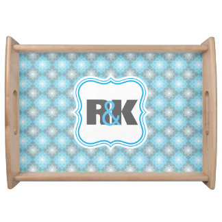 Couples Monograms Close Together Blue Checkers Serving Tray