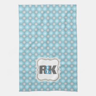 Couples Monograms Close Together Blue Checkers Tea Towel