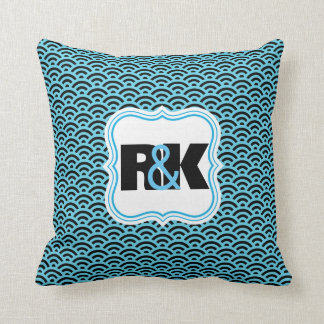 Couples Monograms Close Together Blue Symmetry Cushion