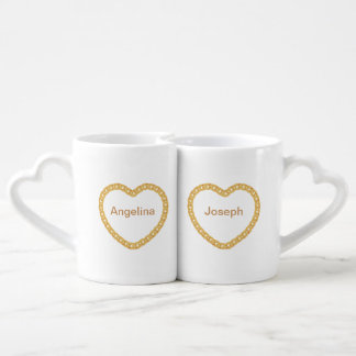 Couples Personalised Coffee Mug wiht Gold Heart