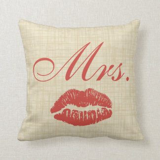 Couples' Pillow, Mrs w Red Lips on Cream Parchment Cushion