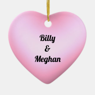 Couples Pink Heart with Names and Date Ceramic Ornament
