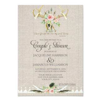 Couples Shower BOHO Feathers Deer Antler Roses Art 13 Cm X 18 Cm Invitation Card