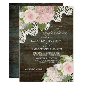 Couples Shower Dark Wood Script Pink Hydrangeas Card