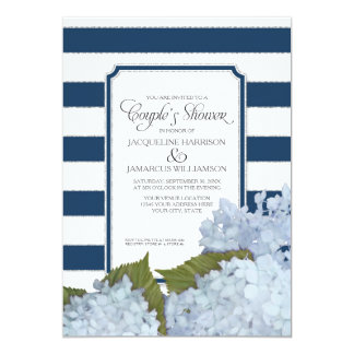 Couples Shower Navy Blue Hydrangea Script Art Deco 13 Cm X 18 Cm Invitation Card