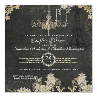 Couples Shower Paris Chalkboard Vintage Typography 13 Cm X 13 Cm Square Invitation Card