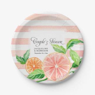 Couple's Shower Pink Striped Citrus Orange Art Paper Plate