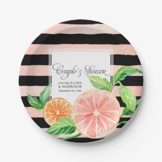 Couple's Shower Pink Striped Citrus Orange Retro Paper Plate