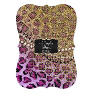 Couples Shower Purple Gold Leopard Animal Print 13 Cm X 18 Cm Invitation Card