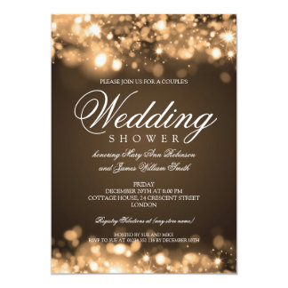 Couples Shower Sparkling Lights Gold 13 Cm X 18 Cm Invitation Card