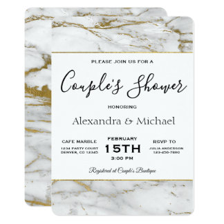 Couple's Shower White & Gold Marble Invitation