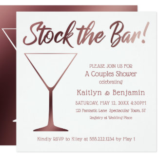 Couples Stock the Bar Shower in Rose Gold Ombre Card