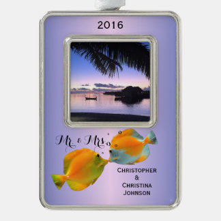 Couple's Sweet Kisses Maldives Sunset Coral Fish Silver Plated Framed Ornament