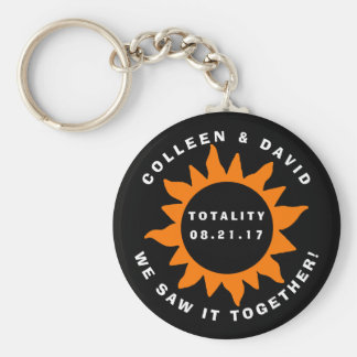 Couples Totality Solar Eclipse Personalized Key Ring