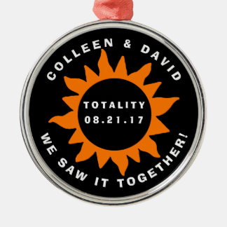 Couples Totality Solar Eclipse Personalized Metal Ornament