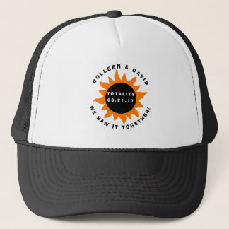 Couples Totality Solar Eclipse Personalized Trucker Hat