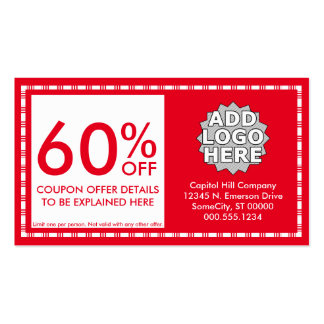 coupon. (color customizable) business cards