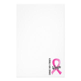 Courage Faith Hope 5 Breast Cancer Custom Stationery