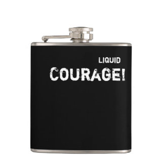 Courage Funny Alcohol Wedding Groom Custom Wording Hip Flask