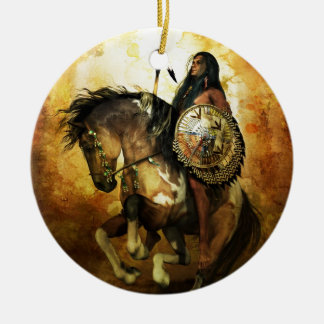 Courage Native American Warrior Ceramic Ornament