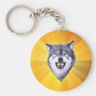 Courage Wolf Advice Animal Internet Meme Basic Round Button Key Ring