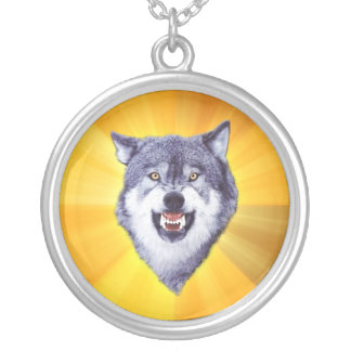 Courage Wolf Round Pendant Necklace