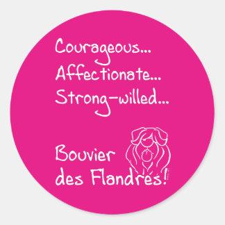 Courageous Bouvier Classic Round Sticker
