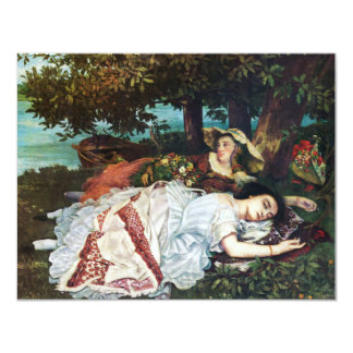 Courbet Young Ladies on the Banks of the Seine 11 Cm X 14 Cm Invitation Card