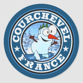 Courchevel Snowman Circle Classic Round Sticker