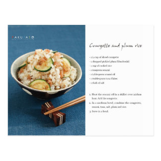 Courgette and plum rice recipe postcard