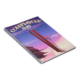 Courmayeur Italian ski poster Notebook